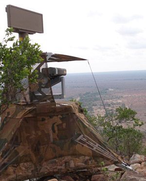 The Meerkat radar surveillance system in operation in the Kruger National Park.