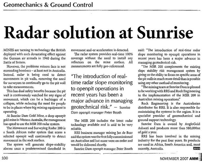 Radar solution at Sunrise News Extract