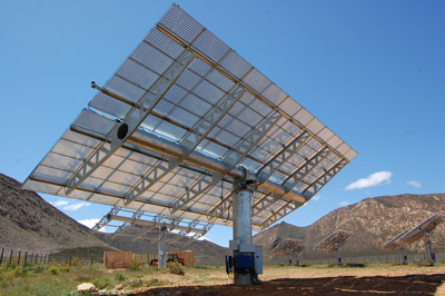 Reutech's solar tracker at a CPV solar power plant near Touwsrivier in the Western Cape.