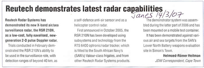 Reutech demonstrates latest radar capabilities news extract.